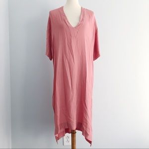 Enza Costa V-neck Long Shift Peach Nude Dress